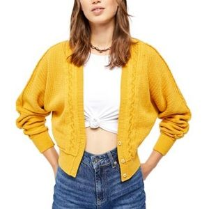FREE PEOPLE L Moon River Cropped Cardigan